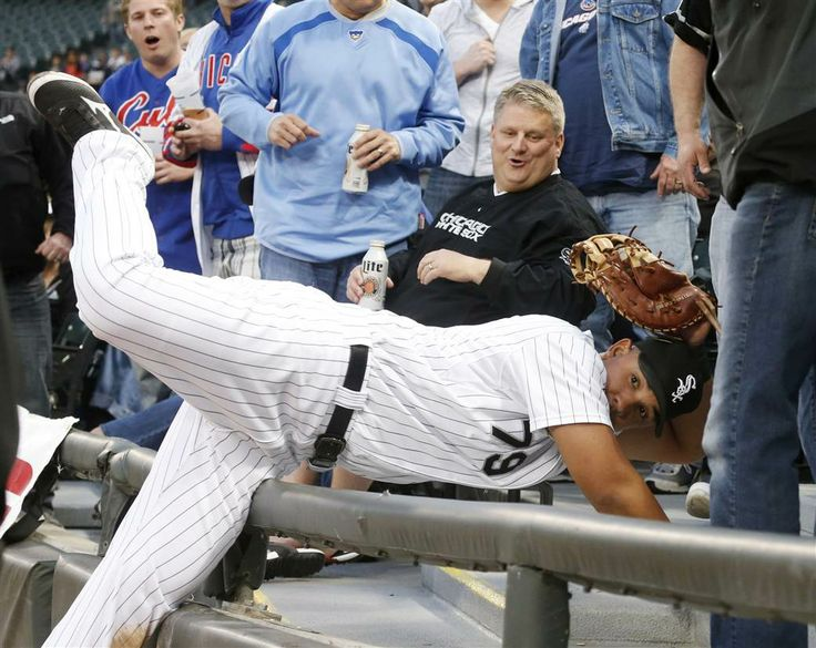 The Week in Pictures: May 1 - 8 - NBC News.com Chicago White Sox first baseman Jose Abreu shows his glove to first-base umpire Marvin Hudson, after catching a fly ball off the bat of Chicago Cubs' Darwin Barney in the seats, during the second inning of an interleague baseball game on May 7, in Chicago.
