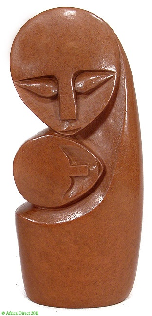 """Shona """"Mother and Child"""" Hand-Carved Stone Zimbabwe African  Materials: Red Serpentine?  Country of origin: Zimbabwe  Ethnic group: Shona  Approximate age: Contemporary"""