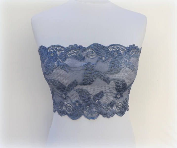 Gray lace bandeau top. Gray lace strapless. Stretch lace bandeau top. Wireless bra. Tube top. Grey lace lingerie. Gift for her. by MissLaceAccessories on Etsy