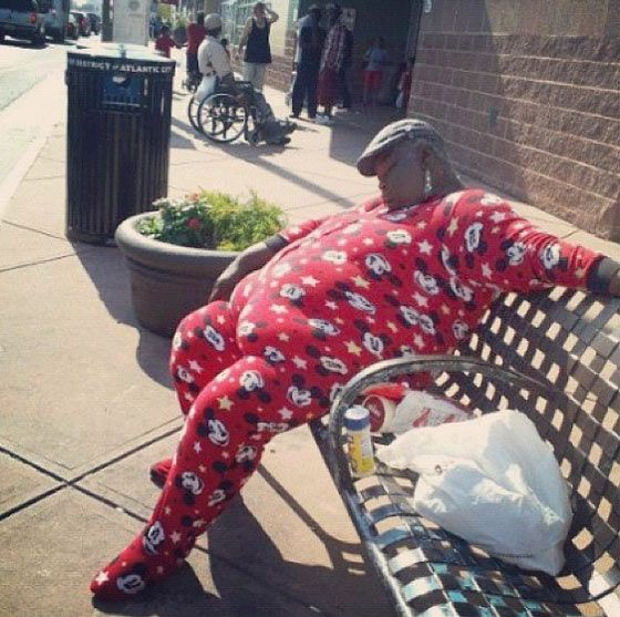 Went shopping wearing a Onesie?  And afterwards, sleeping in a bench.