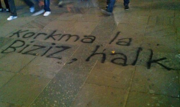 """Don't be scared, it' us, the people."" June 2013, Taksim, İstanbul, Turkey. #direnGezi"