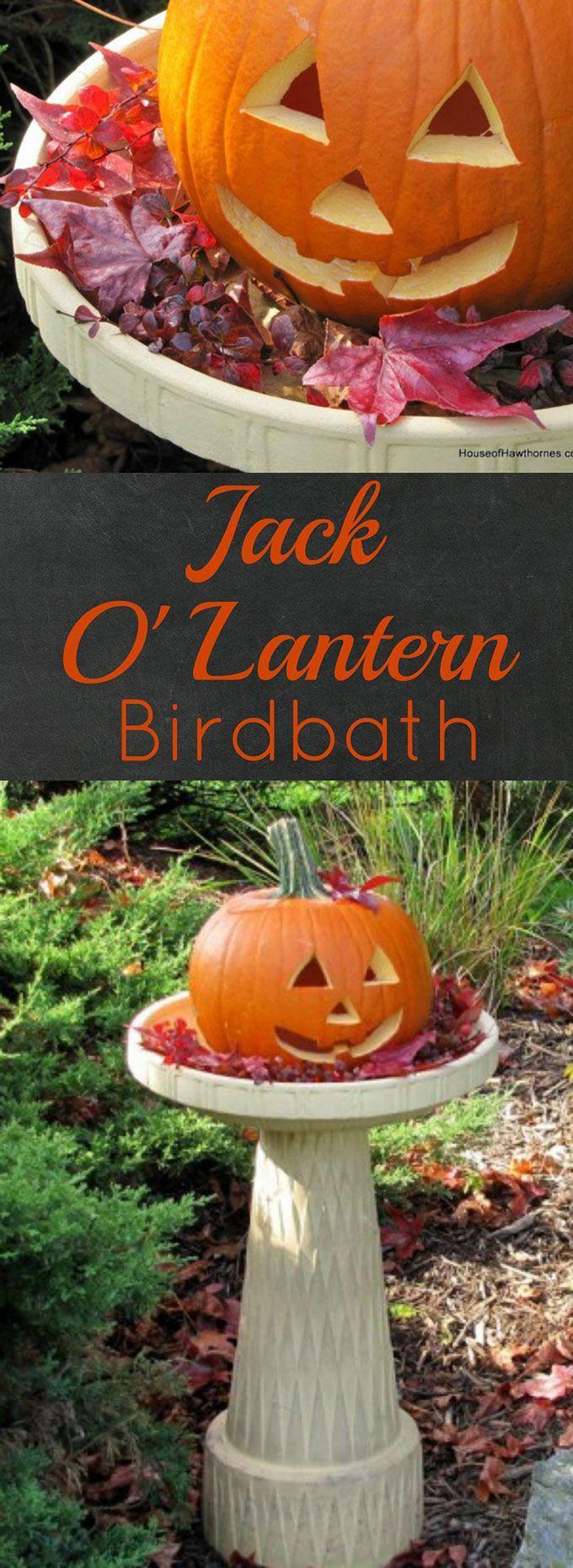 A pumpkin in a birdbath may not