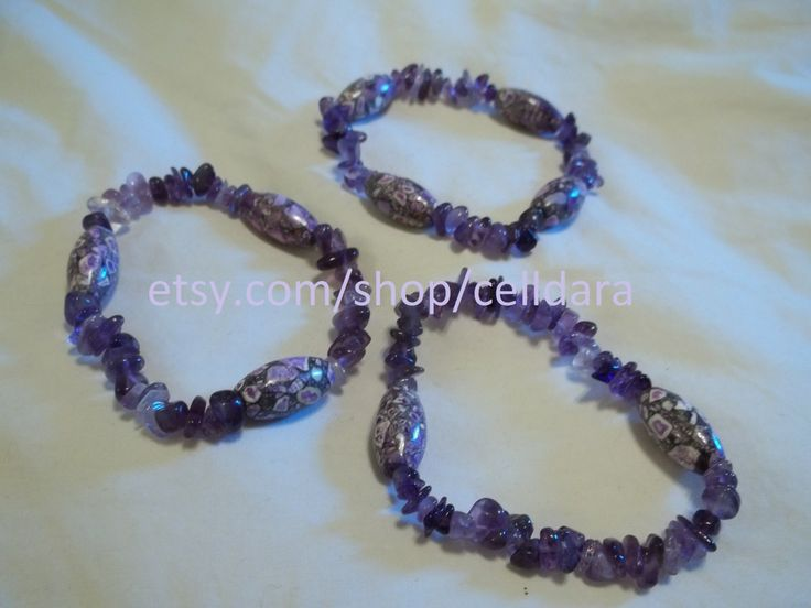 Set of 3 Amethyst & Clay Bead Stretchy Bracelets by CellDara on Etsy
