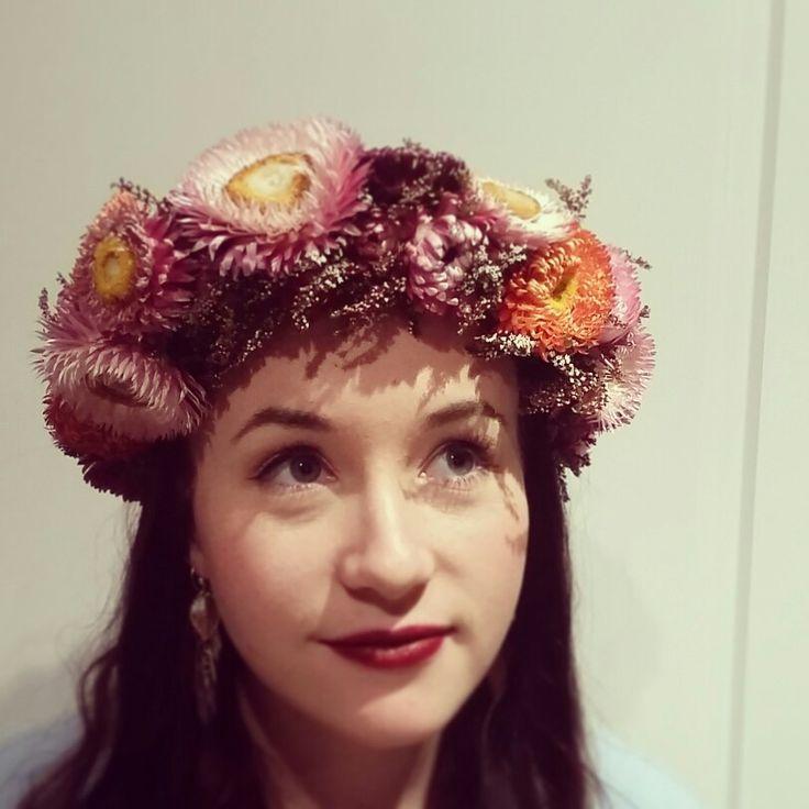 Flower crown in rustic and vintage tones :) yay straw flowers :)