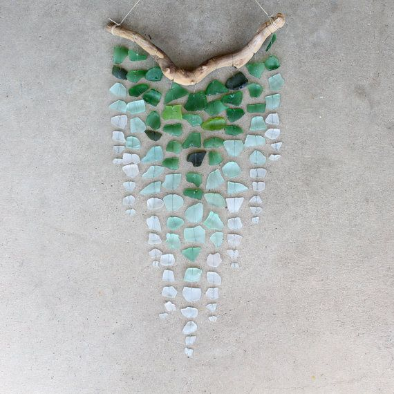 Sea Glass & Driftwood Mobile    Looove this!