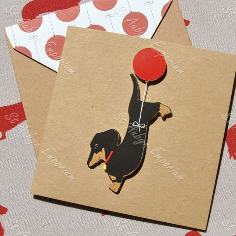 Floating Balloon Dachshund Sausage Dog Card 10 05 With