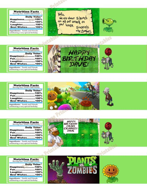 242 best plant vs zombies images on pinterest plants vs zombies printable water bottle label party printables plants vs zombies theme 5 designs yadclub Gallery