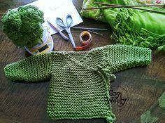 Kimono bebe tejido punto palillos-Soy Woolly en el link de la pag esta el patrón y escplicaciones