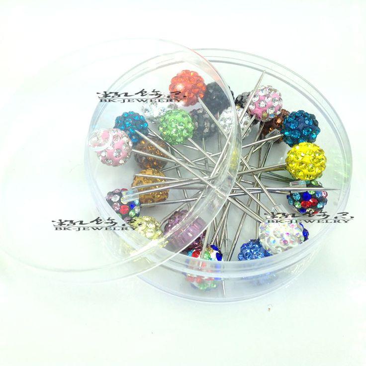 24pcs/lot Women scarf stick pin Muslim Hijab pins crystal ball shiny decorate full ball shaped fixed safety pin Brooch Pins