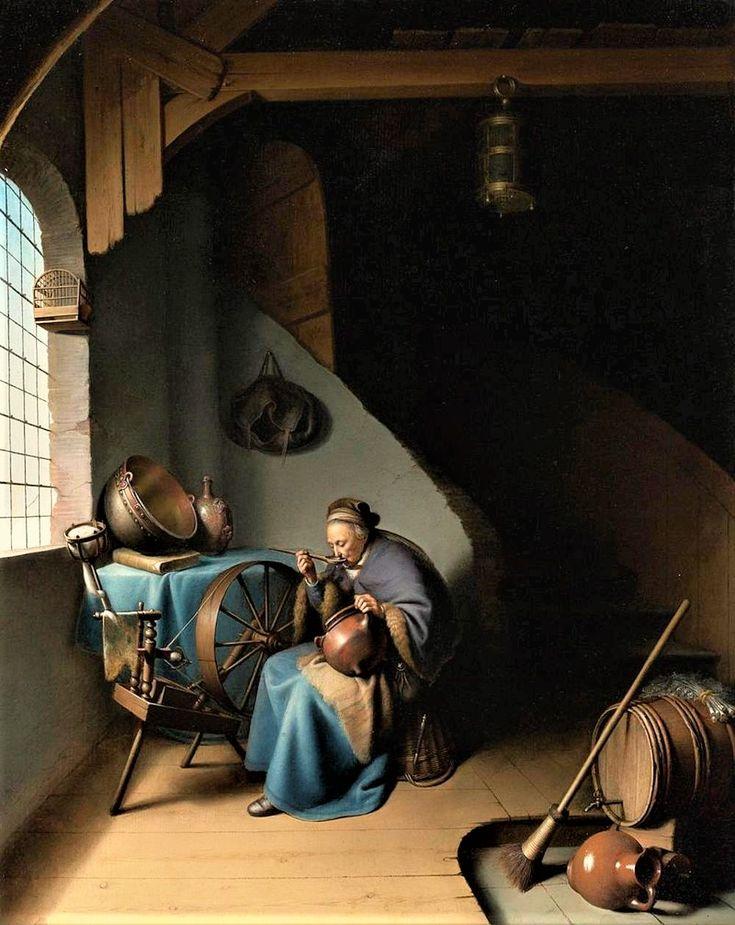 Ηλικιωμένη γευματίζει βρώμη δίπλα στην ανέμη στο παράθυρο (1631-35) Ιδιωτική συλλογή