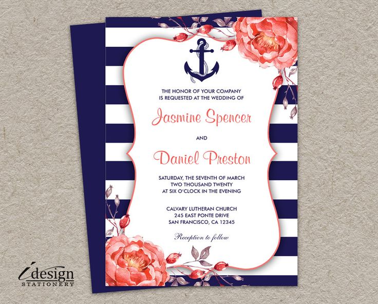 Printable Nautical Themed / Navy Blue And Coral Wedding Invitations With A White Stripe Design, Anchor And Watercolor Peonies by iDesignStationery on Etsy