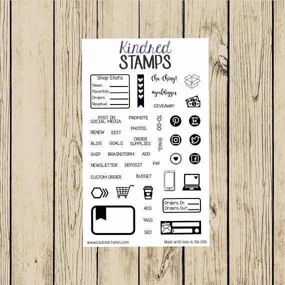 This 4x6 inch clear photopolymer stamp set will help you keep your small business organized, efficient and successful! This set contains 42 stamps for you to use in your Life Planner, Happy Planner, or any planner you use!  A clear acrylic block will be needed to stamp with these.