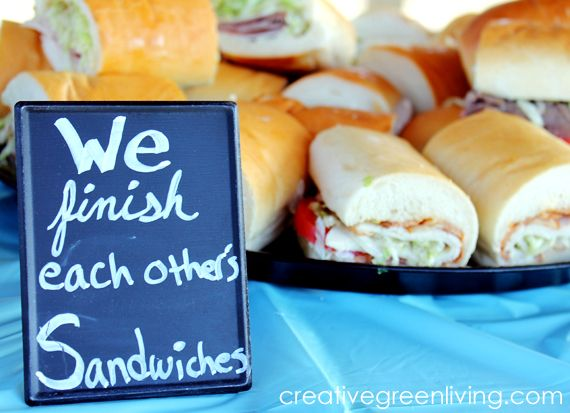 """Frozen birthday party food idea - sandwich platter with """"we finish each other's sandwiches"""" sign."""