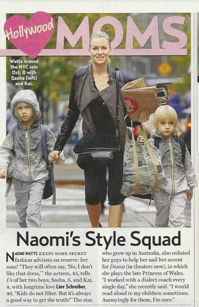 Naomi Watts and her sons wearing their K•WAY Claude Klassic Ombre jackets in this week's issue of Us Weekly. #KWAY #CelebsLoveKWAY