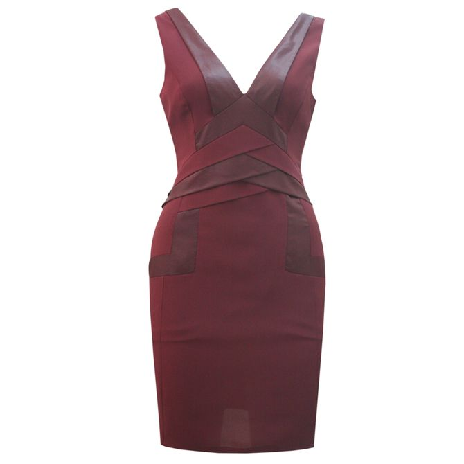 Sorcha Design Maroon Dress with Leather | Apparel | Upstored