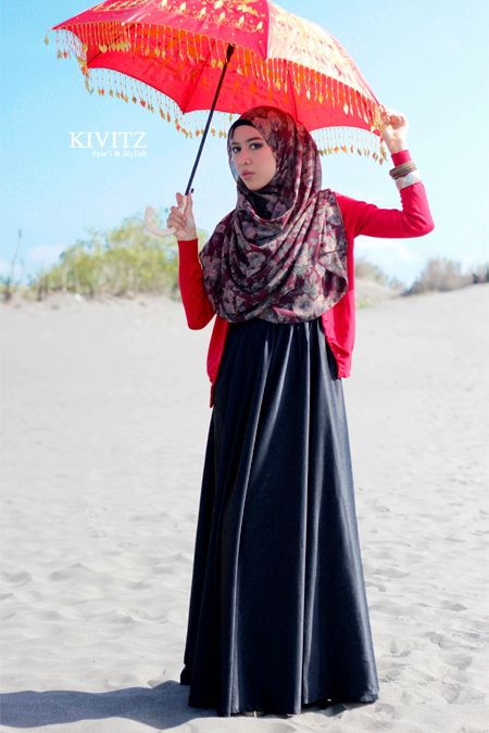simple cardigan & cute floral hijab over abaya