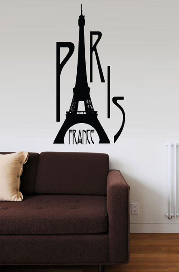 Paris France Vinyl Wall Sticker Decal Art By Walltowalldecals, $44.99