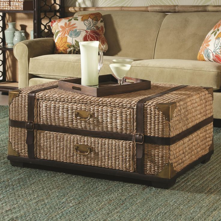 Banana Leaf Ottoman Furniture Living Room Furniture Trunk Leather Wicker Trunk