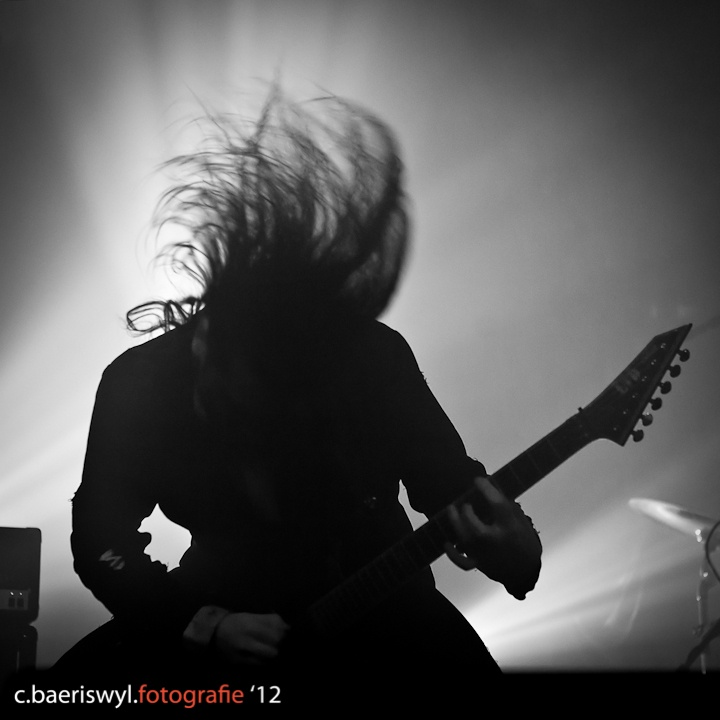 Cristiano Trionfera of Fleshgod Apocalypse on stage at Fri-Son in Fribourg, Switzerland. December 2011.