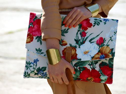 oversized floral envelope clutch & bold gold cuffs.Details In Streetstyle
