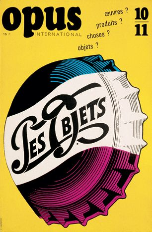 Les Objets - Cover for Opus, international art review, 1968. By Roman Cieslewicz.