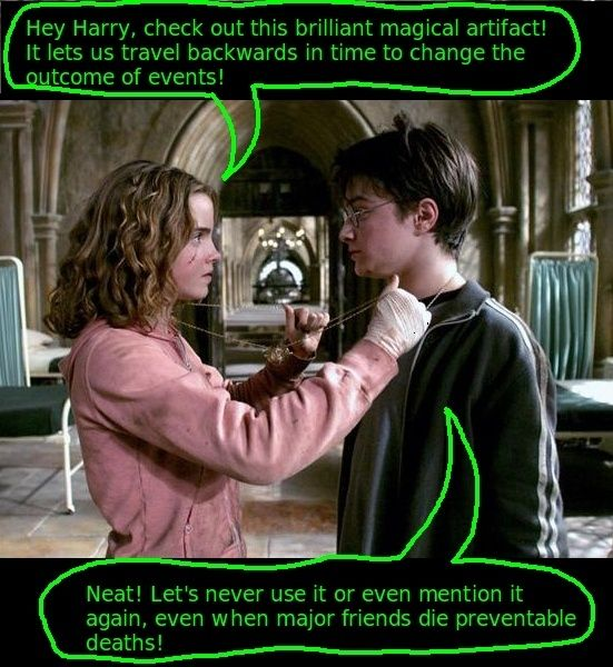 Actually, it's only a plot hole in the movies; in the books it's perfectly and plainly explained, in the Half-Blood Prince Hermione, Ron and Harry are thinking of ways to get Slughorn to loosen his tongue, Harry suggests trying to get a time-turner and Hermione explains they were all destroyed by the ministry after one was used by two kids (themselves) to help a convicted criminal on the lam (Sirius), and now I have no choice left but to admit I'm a Potter nerd after all...