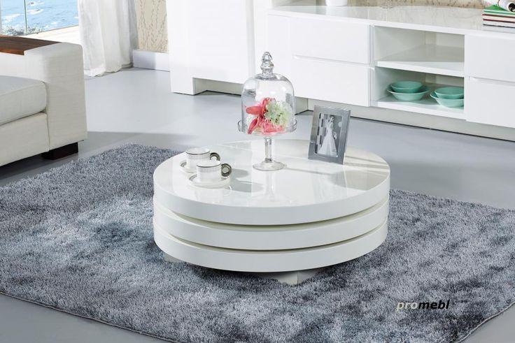 ława stolik OKRĄGŁY biały WYSOKI POŁYSK (4800042341
