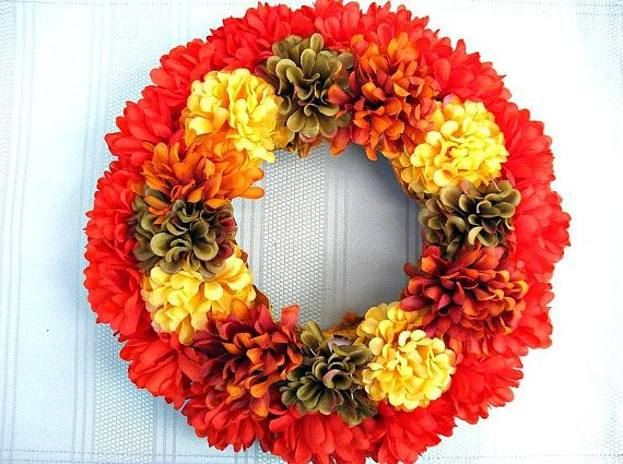 Fall flower candle ring Decoration with fall flowers Fall