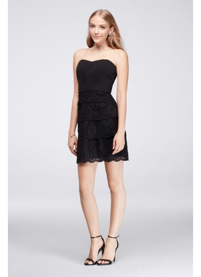 $79.99  Pleated Cocktail Dress with Tiered Lace Skirt 39J003