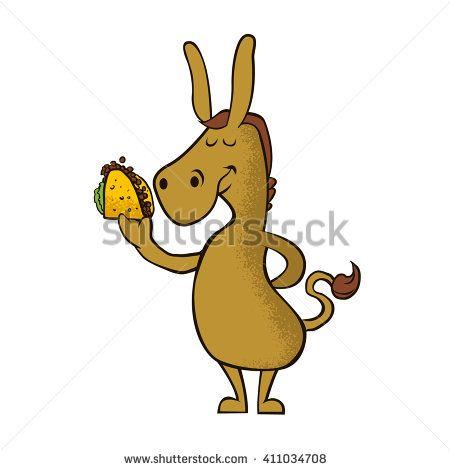 donkey with taco cartoon vector