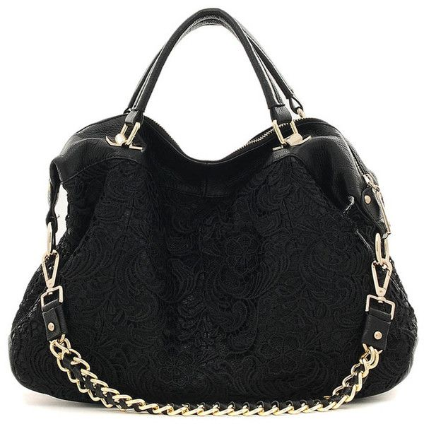 CANNCI Black knitted lace leather slouch bag ❤ liked on Polyvore featuring bags, handbags, shoulder bags, leather purse, black leather purse, purse, accessories handbags e black purse