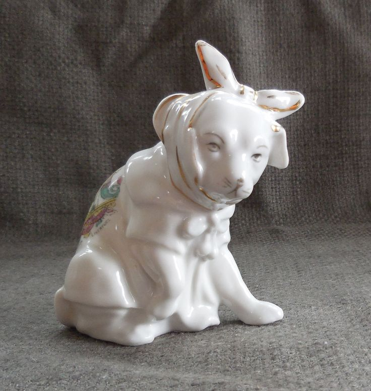 Adorable Edwardian CRESTED Ware Poorly DOG Porcelain LIVERPOOL Souvenir Figurine...Antique Doggy In Coat With Sore Tooth! Animal Ornament. by SlimandSugar on Etsy