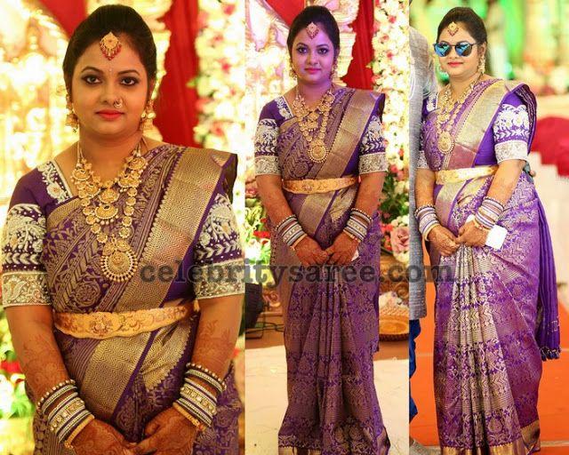 Heavy Bridal Saree In Purple