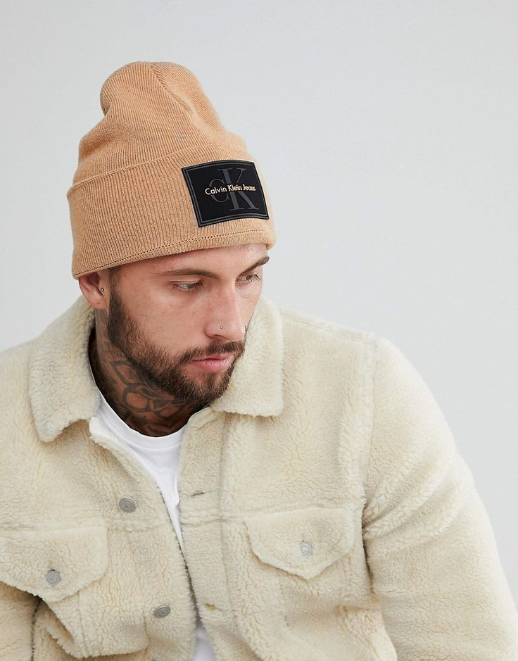Asos Mens Patch Beanie Beige - Caps & Hats