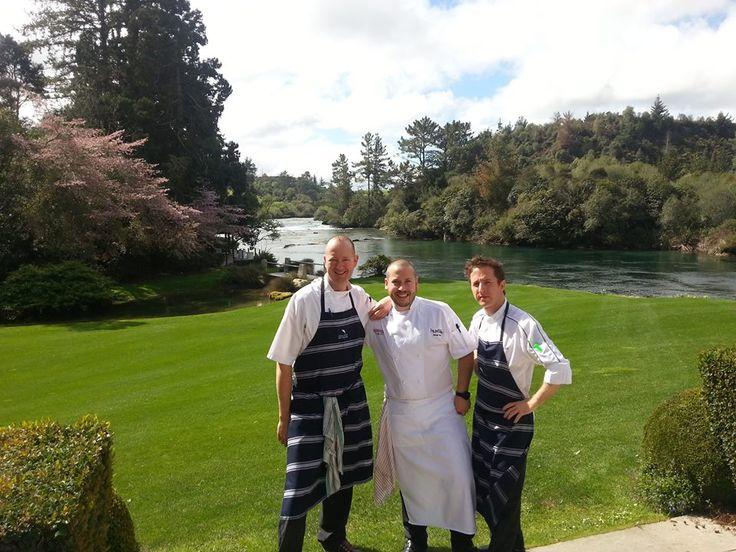 Chef's Michel Louws, Daniel Wilson and new Huka Lodge Executive Chef Paul Froggett.