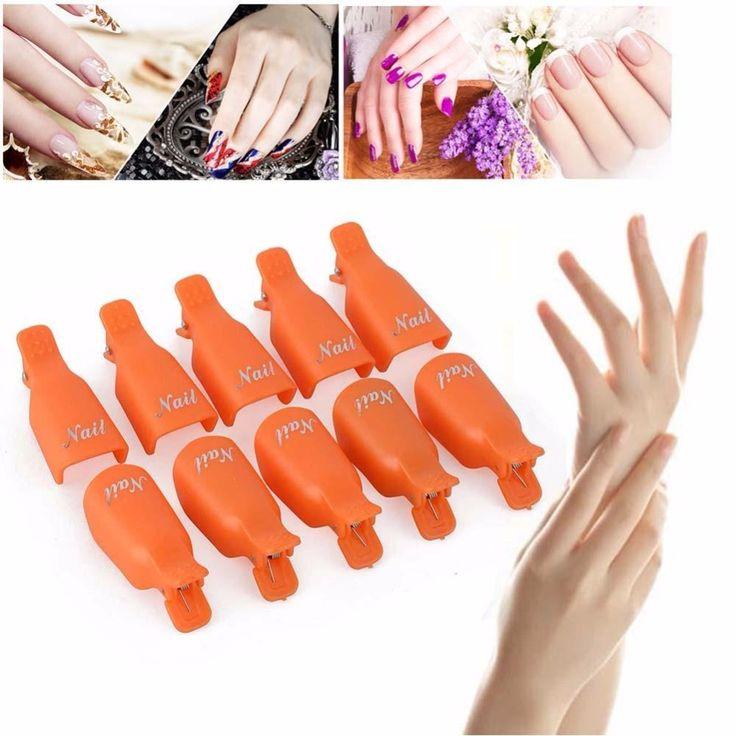 10pcs Plastic Nail Art Soak Off Cap Clip UV Gel Polish Remover Wrap Tool Nail Off Clip for Beauty Women Nail Care Tools