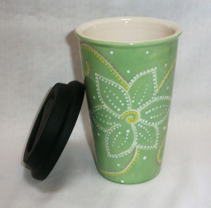 Eco Friendly Ceramic Travel Mug w/lid - Spring Green hand painted -  flowers & swirls