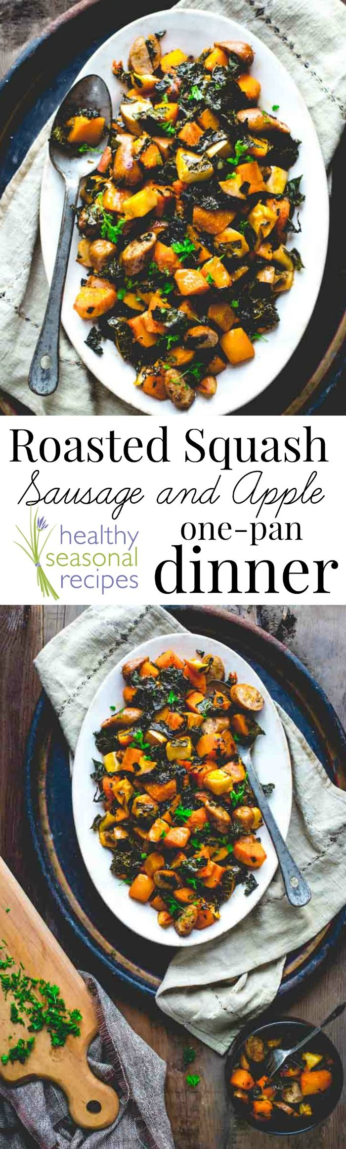 roasted squash, sausage and apple one pan dinner