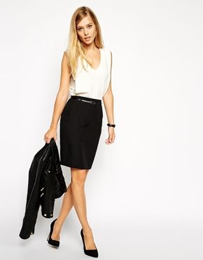 ASOS Belted Pencil Skirt with Seam Detail - 225kr