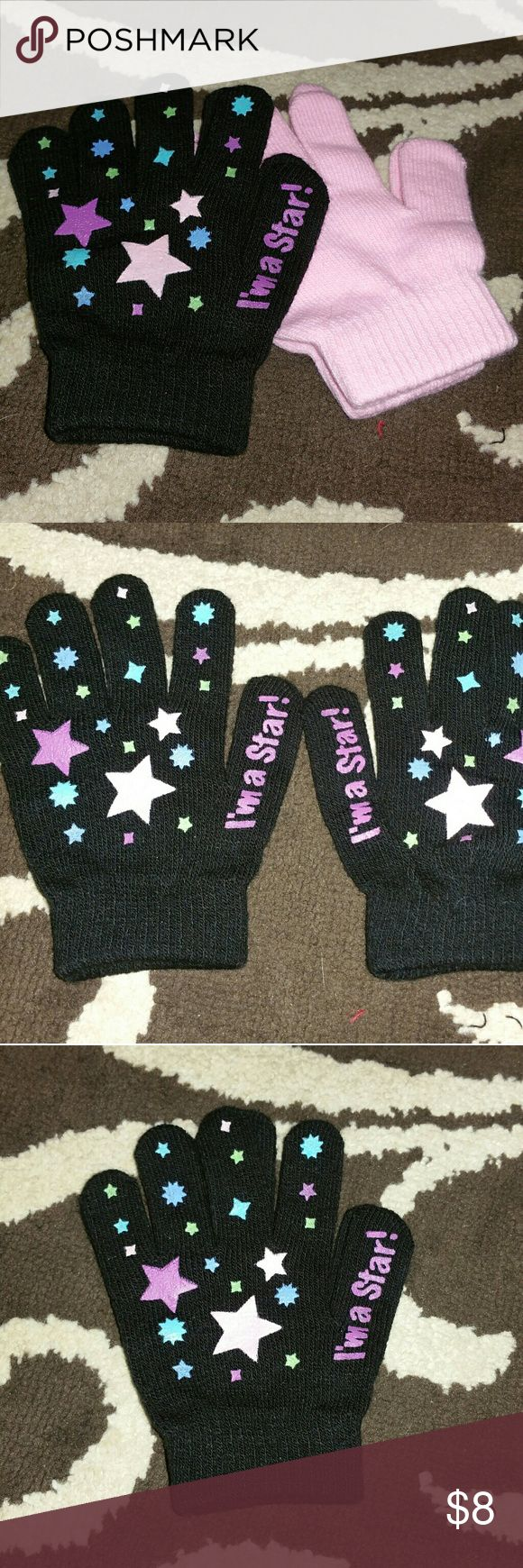 🎈SALE Girl's Gloves I'm A STAR, 2 PAIRS  Girl's Gloves,  One size fits All,  Color's  Pink, Black,  NWOT.  Never worn,  Cute looking Gloves for these up coming cold winter Day's!!! Have any questions before purchase just ask and I'll try to answer!!!  All sales are final!!!  NO RETURNS!!! Accessories Mittens