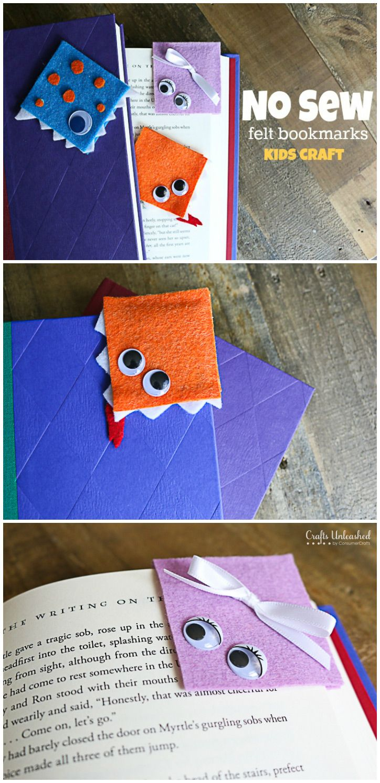 DIY Craft: Fun no sew felt DIY bookmarks for kids!