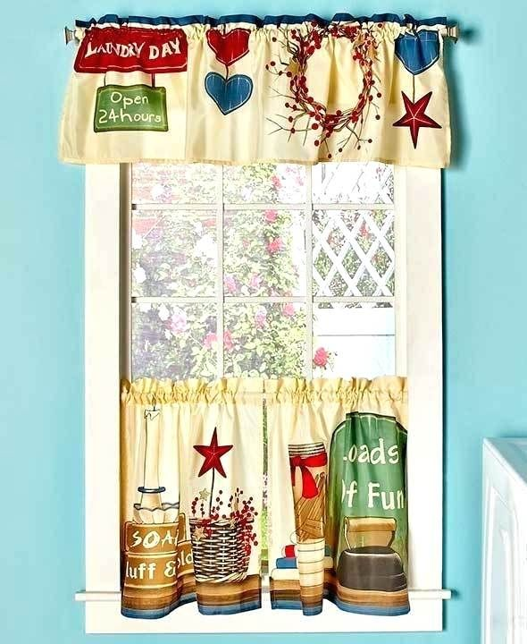 Curtains For Laundry Room 3 Curtain Set Loads Of Fun Colorful Country Window Treatment Valance
