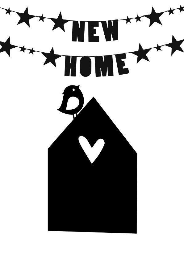 Hippe zwart wit verhuiskaart, verkrijgbaar bij #kaartje2go voor €1,89