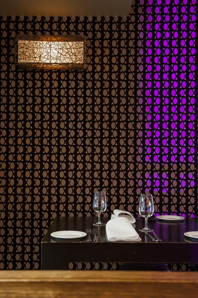 Luxury wallpaper with flock and bead and love the lighting effect with Pantone 2014 Colour #radiant orchid.Interior Design by Style Precinct. Photo:Nicole England