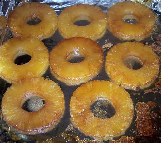 baked pineapple.   place in the oven with splenda brown sugar or whatever you want at 350 for 10 min.