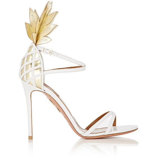 Aquazzura Women's Pina Colada Sandals (12.996.740 IDR) ❤ liked on Polyvore featuring shoes, sandals, white, open toe sandals, white stilettos, leather sole shoes, ankle strap sandals and white leather shoes