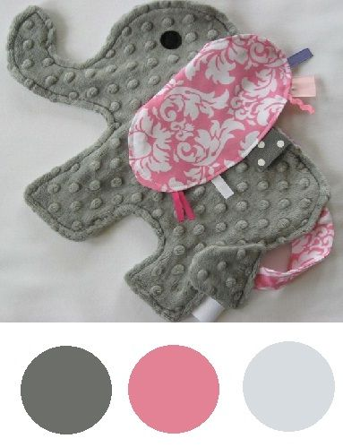 elephant taggie, good idea to use up my scrap fabrics & to give for baby presents. I'd add some blue taggies coming from the trunk, water:-)