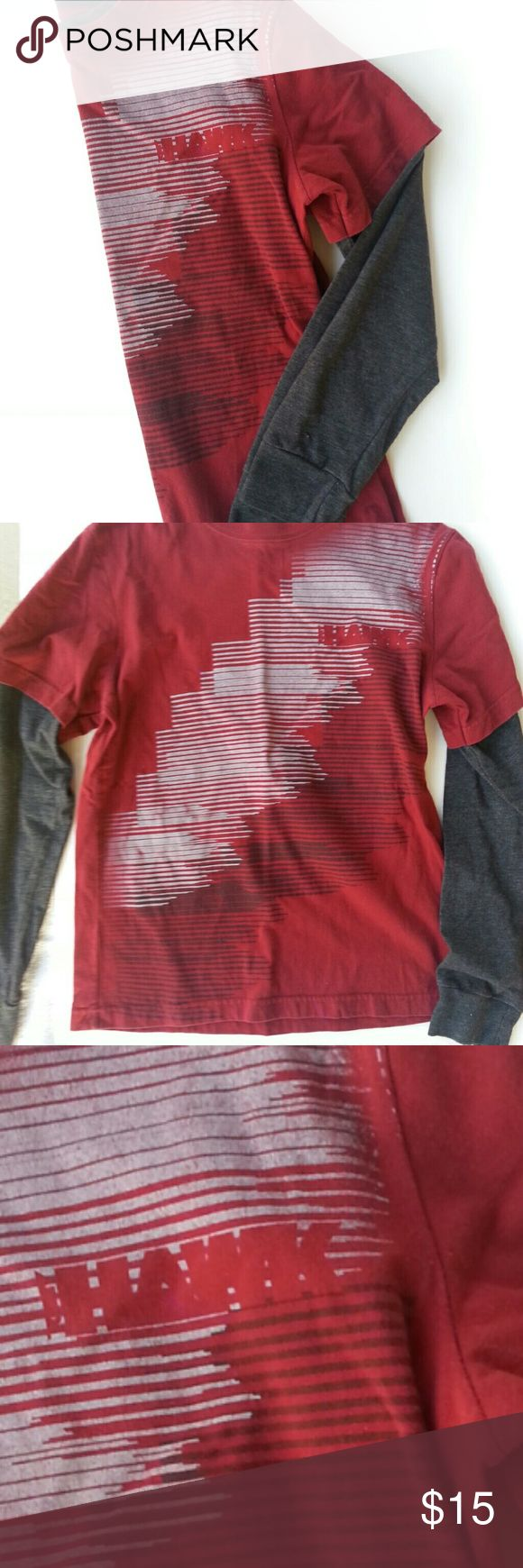 (Boys/Teens)Tony Hawk long sleeve layered tee Crimson red in color layered with gray sleeves. Size small but fits on the tighter side. Great with jeans, and shorts as well. Tony Hawk Shirts & Tops Tees - Long Sleeve