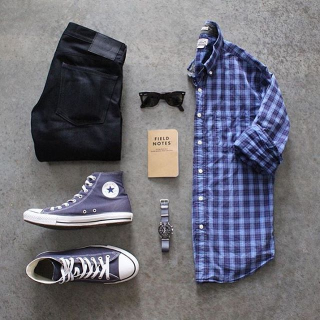 #SuitGrid by: @awalker4715 ________________________________________  Follow @inisikpe for daily style/advice #SuitGrid to be featured  IniIkpe.com for fashion updates and more ________________________________________ Tap For Brands  Shirt: @jcrew Denim: @japanbluejeans Shoes: @converse Watch: @omega Glasses: @rayban Book: @fieldnotesbrand