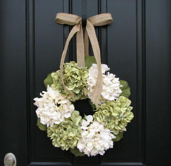 Wreaths - Hydrangea Wreath -  Wreaths for All Seasons - Summer Hydrangeas - Summer Wreaths - Hydrangea Blooms on Etsy, $75.00